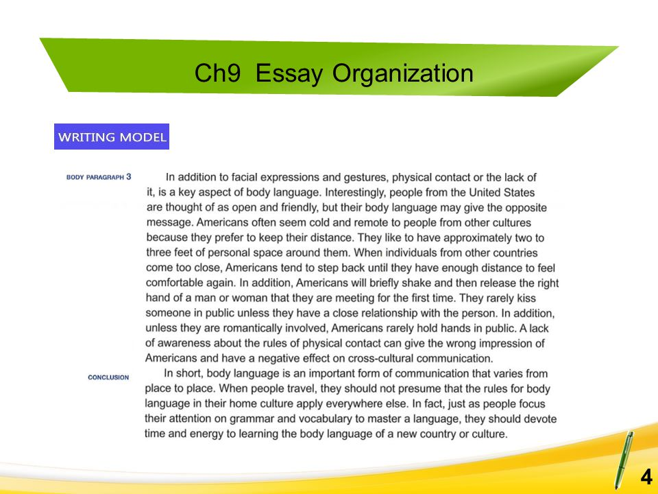 Ch9 Essay Organization 15 Read each introductory paragraph and set of topic sentences for body paragraphs.
