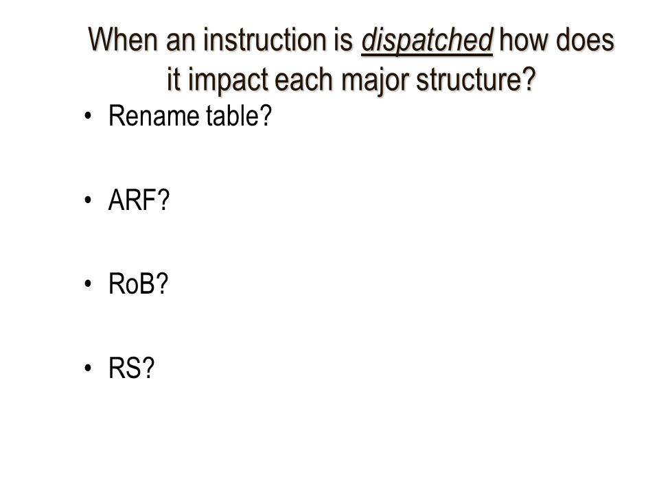 When an instruction is dispatched how does it impact each major structure.