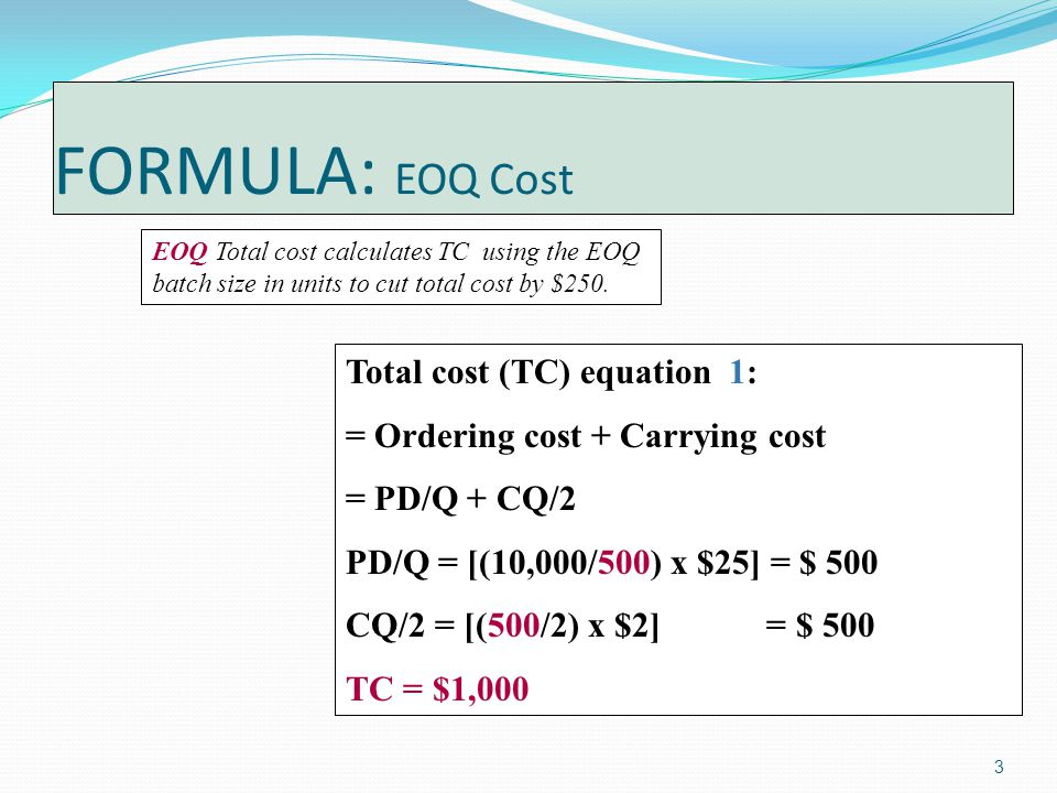 3 FORMULA: EOQ Cost EOQ Total cost calculates TC using the EOQ batch size in units to cut total cost by $250.
