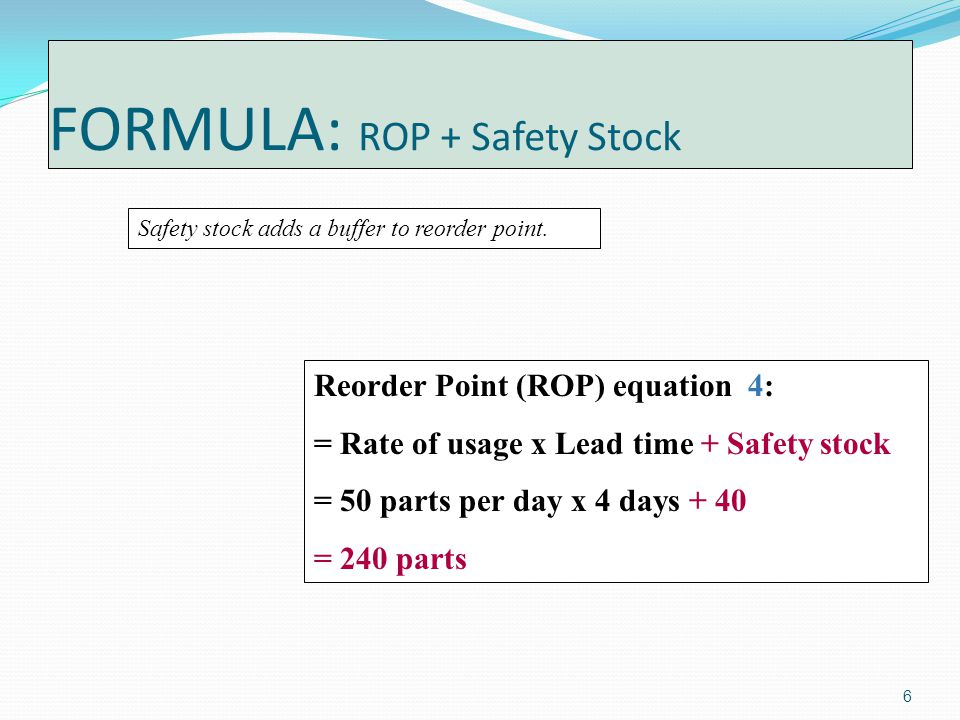 6 FORMULA: ROP + Safety Stock Safety stock adds a buffer to reorder point.