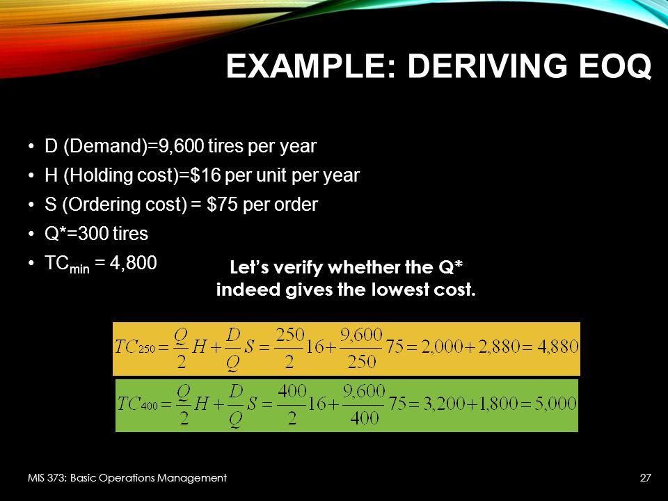 EXAMPLE: DERIVING EOQ D (Demand)=9,600 tires per year H (Holding cost)=$16 per unit per year S (Ordering cost) = $75 per order Q*=300 tires TC min = 4