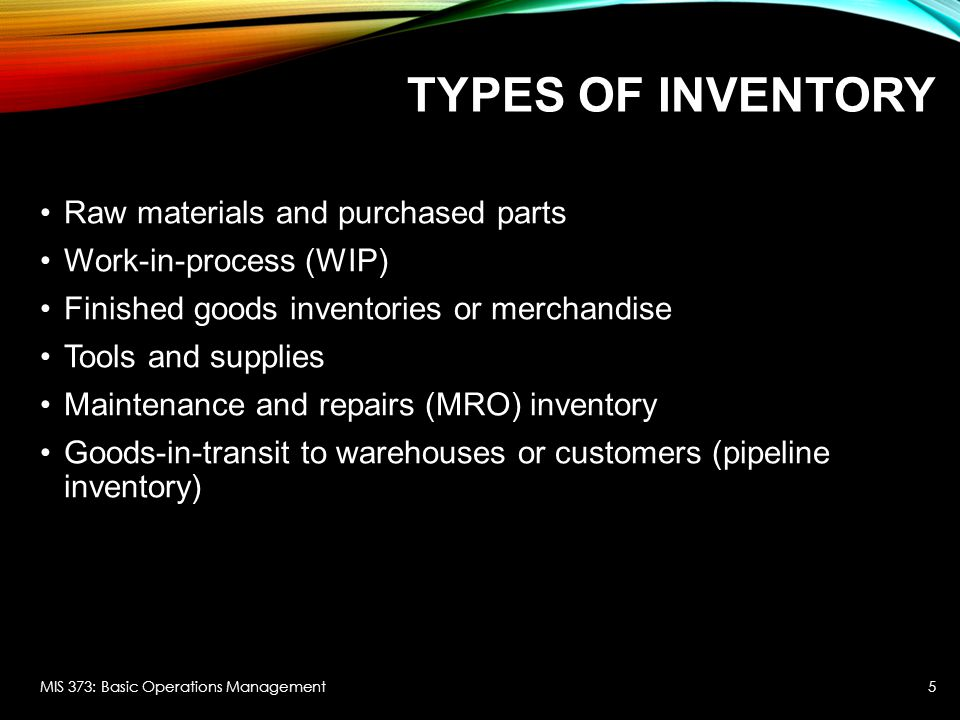 COSTS OF INVENTORY Physical holding costs: out of pocket expenses for storing inventory (insurance, security, warehouse rental, cooling) All costs that may be entailed before you sell it (obsolescence, spoilage, rework...) Opportunity cost of inventory: foregone return on the funds invested.