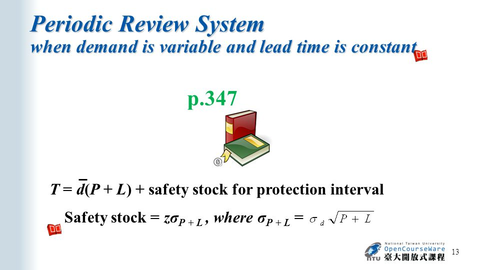 Periodic Review System when demand is variable and lead time is constant 13 p.347 T = d(P + L) + safety stock for protection interval Safety stock = zσ P + L, where σ P + L =
