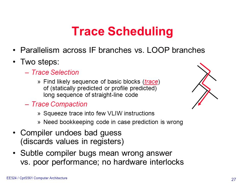 27 EE524 / CptS561 Computer Architecture Trace Scheduling Parallelism across IF branches vs.