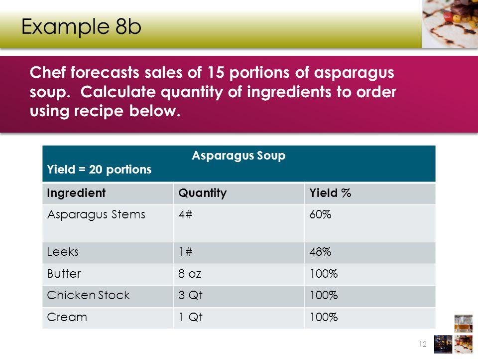 Example 8b Asparagus Soup Yield = 20 portions IngredientQuantityYield % Asparagus Stems4#60% Leeks1#48% Butter8 oz100% Chicken Stock3 Qt100% Cream1 Qt