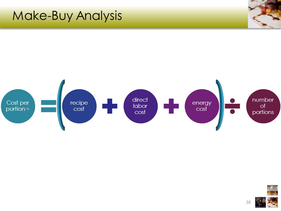 Make-Buy Analysis 38 Cost per portion = recipe cost direct labor cost energy cost number of portions