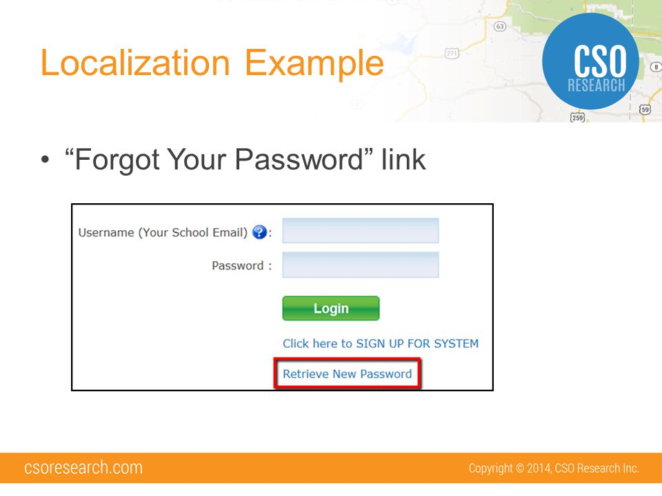 Localization Example Forgot Your Password link