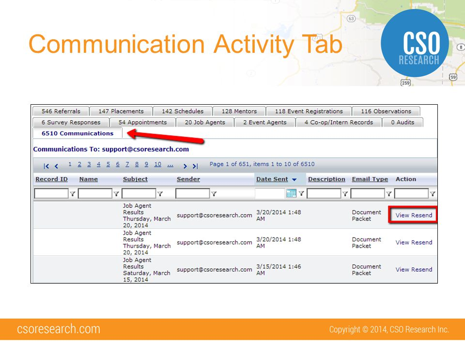 Communication Activity Tab