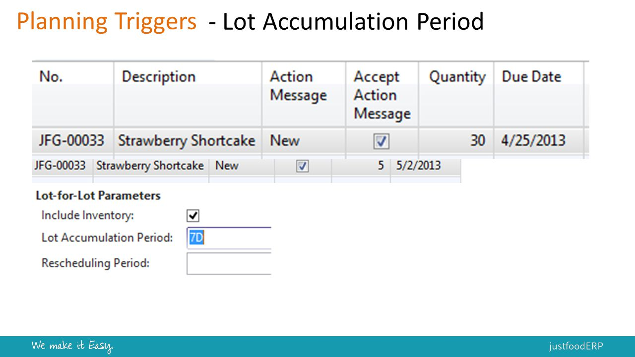 Planning Triggers - Lot Accumulation Period