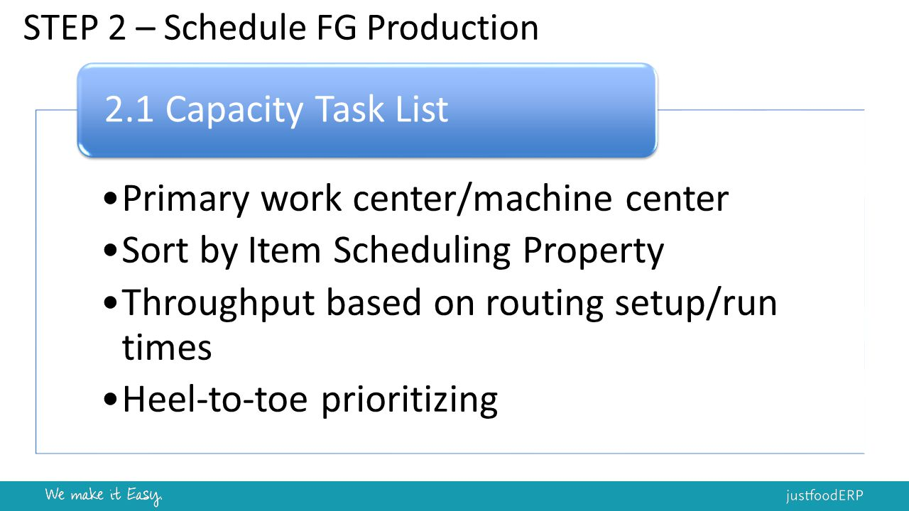 STEP 2 – Schedule FG Production Primary work center/machine center Sort by Item Scheduling Property Throughput based on routing setup/run times Heel-to-toe prioritizing 2.1 Capacity Task List