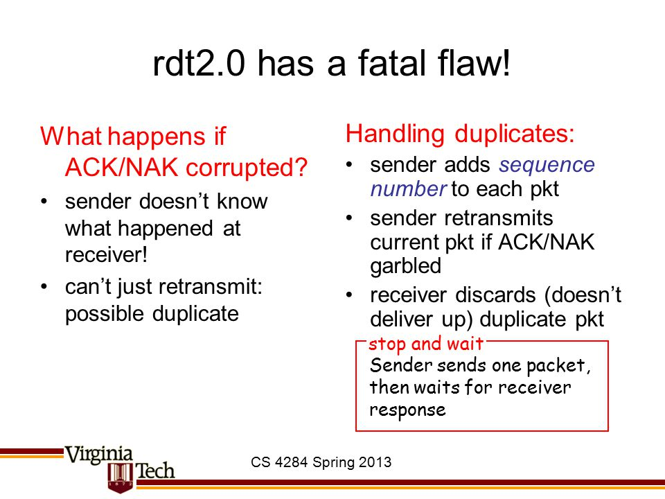 CS 4284 Spring 2013 rdt2.0 has a fatal flaw! What happens if ACK/NAK corrupted? sender doesn't know what happened at receiver! can't just retransmit: