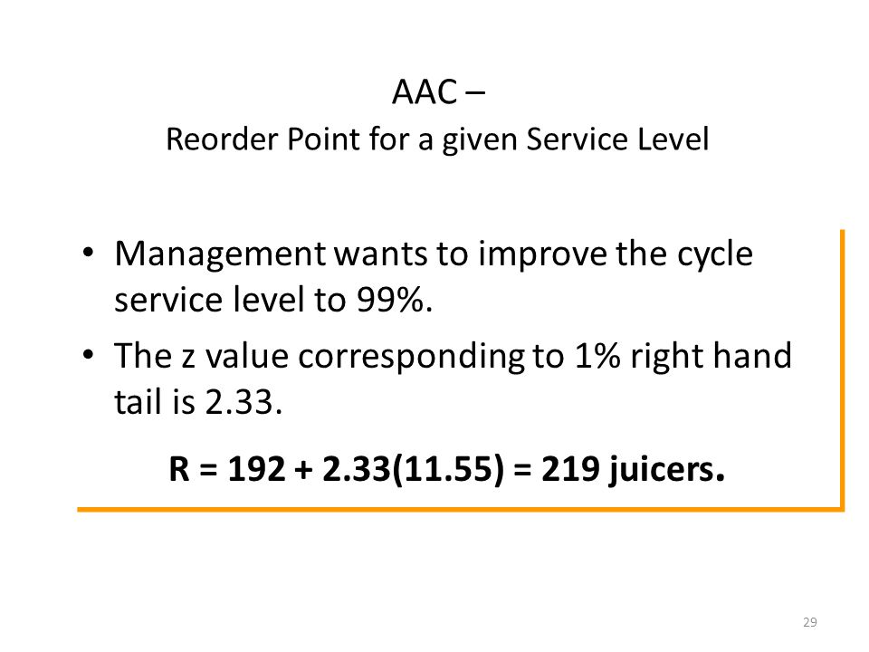 29 Management wants to improve the cycle service level to 99%.