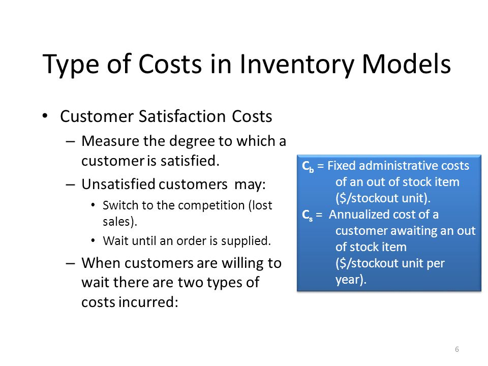 6 Customer Satisfaction Costs – Measure the degree to which a customer is satisfied.