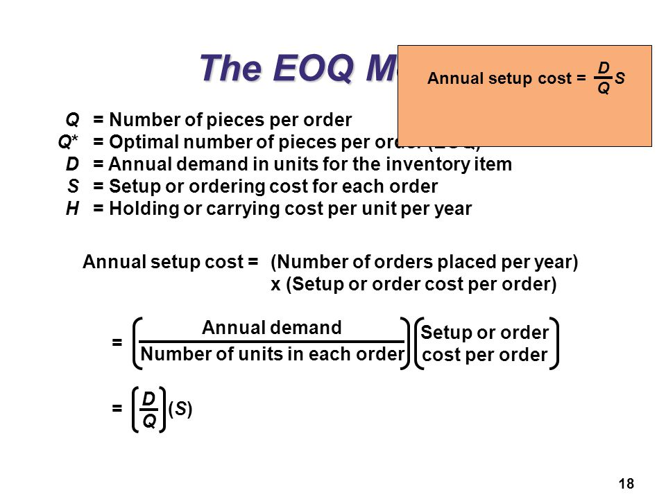 18 The EOQ Model Q= Number of pieces per order Q*= Optimal number of pieces per order (EOQ) D= Annual demand in units for the inventory item S= Setup
