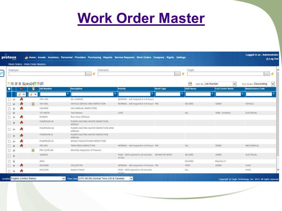 Work Order Master
