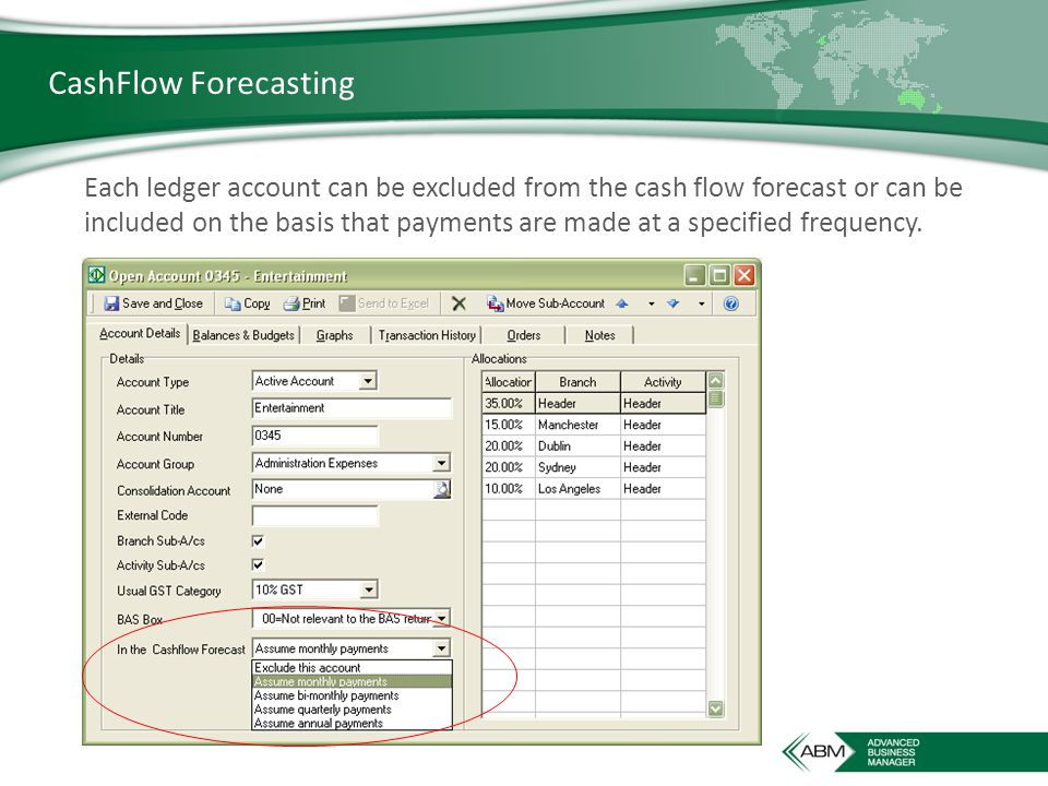 CashFlow Forecasting Each ledger account can be excluded from the cash flow forecast or can be included on the basis that payments are made at a specified frequency.