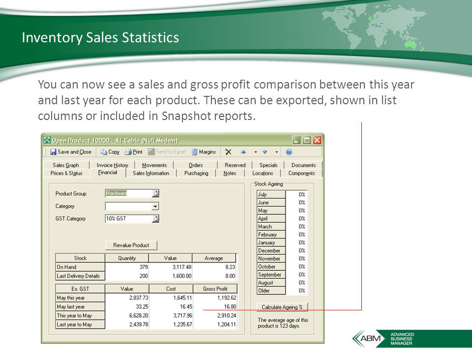 Inventory Sales Statistics You can now see a sales and gross profit comparison between this year and last year for each product.
