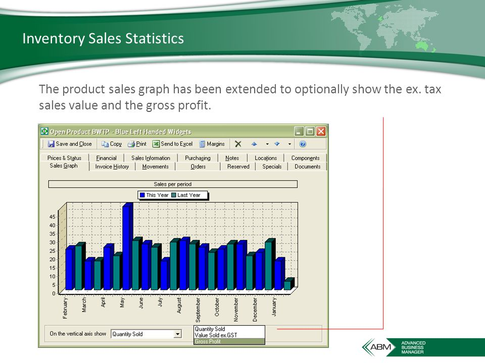 Inventory Sales Statistics The product sales graph has been extended to optionally show the ex.