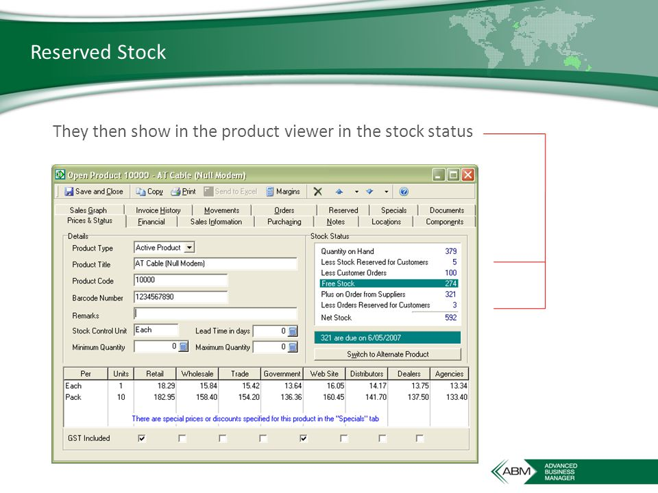 Reserved Stock They then show in the product viewer in the stock status