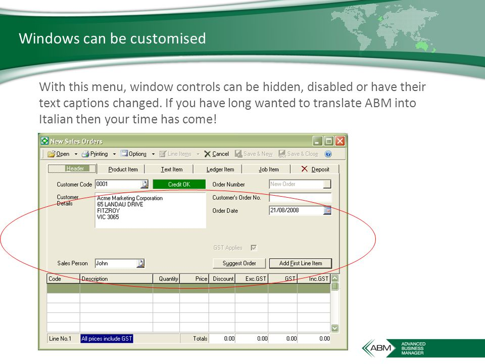 Windows can be customised With this menu, window controls can be hidden, disabled or have their text captions changed.