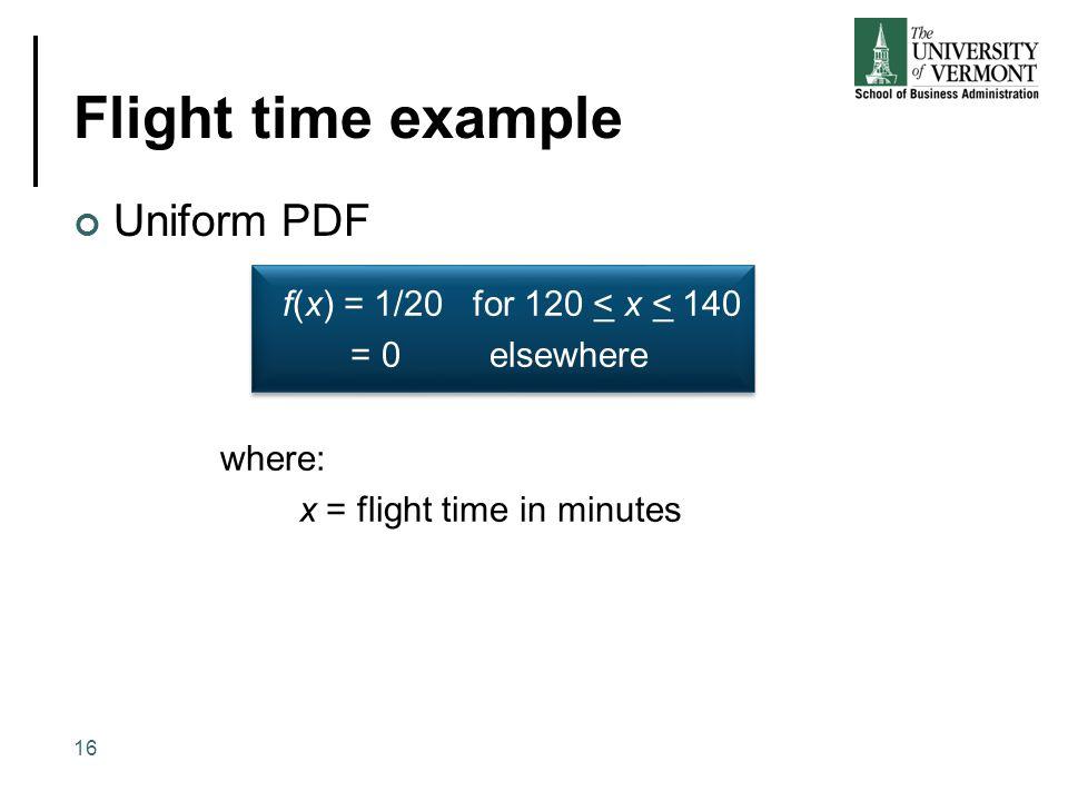 Flight time example Uniform PDF 16 f(x) = 1/20 for 120 < x < 140 = 0 elsewhere f(x) = 1/20 for 120 < x < 140 = 0 elsewhere where: x = flight time in m