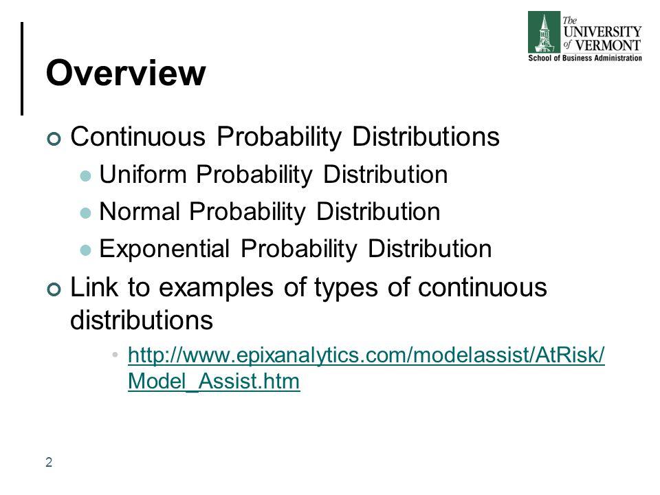 Overview Continuous Probability Distributions Uniform Probability Distribution Normal Probability Distribution Exponential Probability Distribution Li
