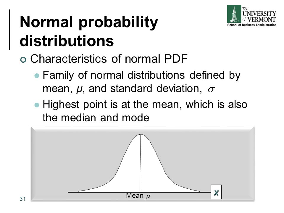 Normal probability distributions Characteristics of normal PDF Family of normal distributions defined by mean, µ, and standard deviation,  Highest po