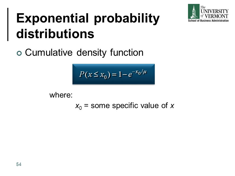 Exponential probability distributions Cumulative density function where: x 0 = some specific value of x 54
