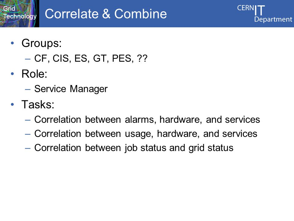 Grid Technology Correlate & Combine Groups: –CF, CIS, ES, GT, PES, .