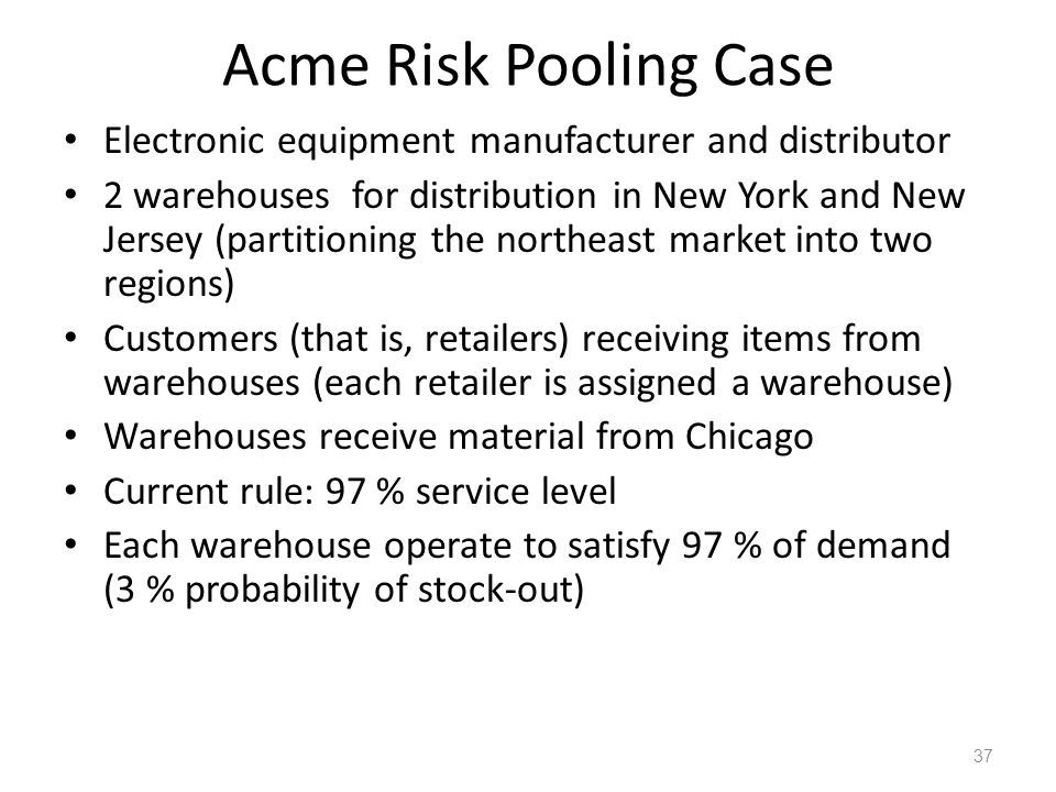 Acme Risk Pooling Case Electronic equipment manufacturer and distributor 2 warehouses for distribution in New York and New Jersey (partitioning the no