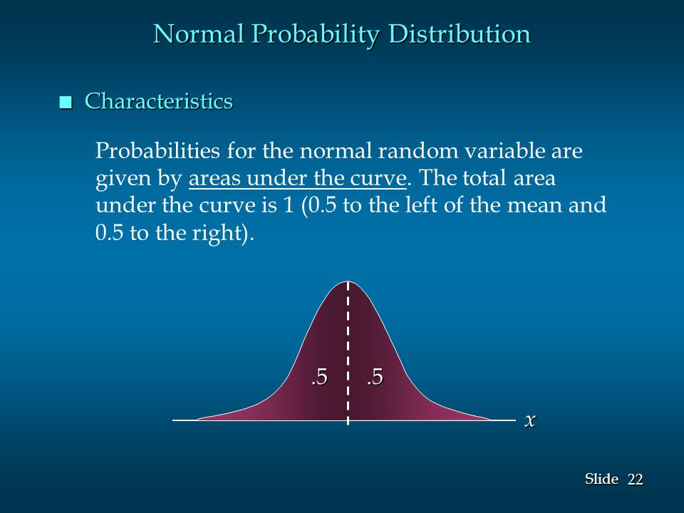 22 Slide Probabilities for the normal random variable are given by areas under the curve.
