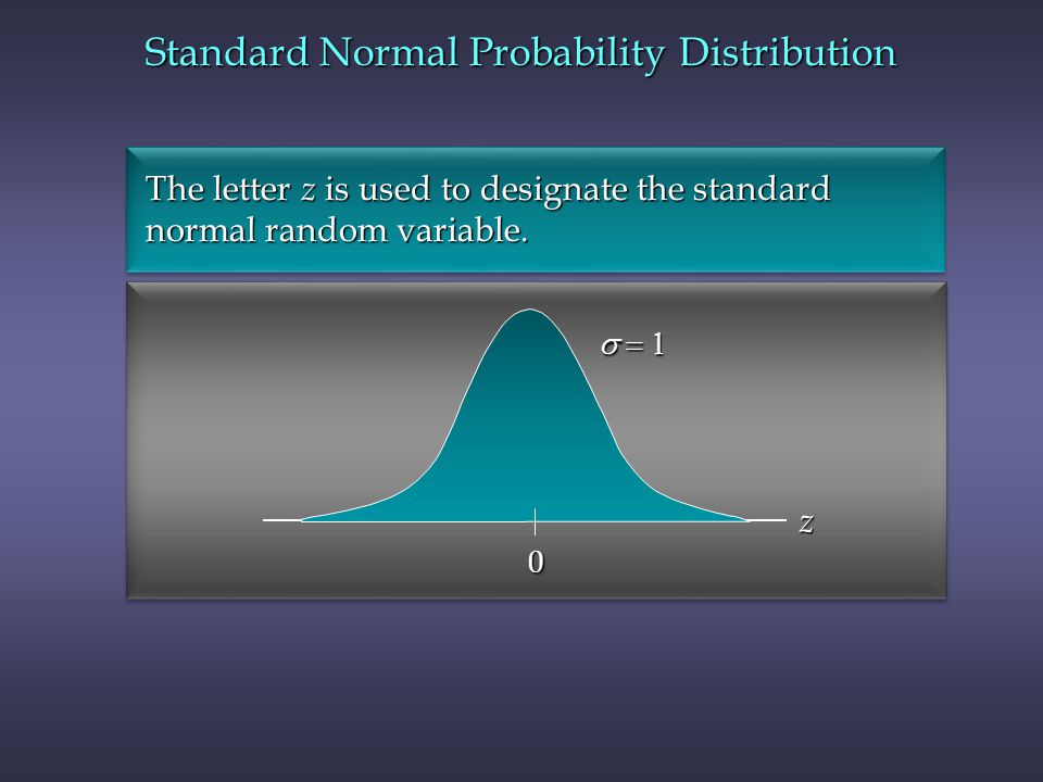  0 z The letter z is used to designate the standard The letter z is used to designate the standard normal random variable.
