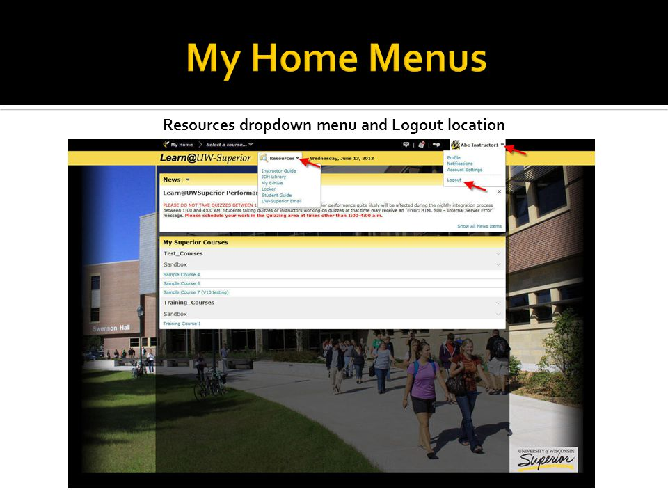 Resources dropdown menu and Logout location