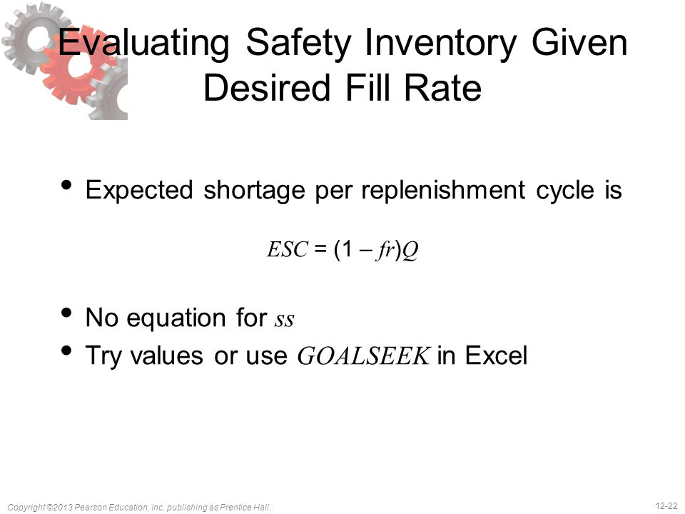12-22 Copyright ©2013 Pearson Education, Inc. publishing as Prentice Hall. Evaluating Safety Inventory Given Desired Fill Rate Expected shortage per r