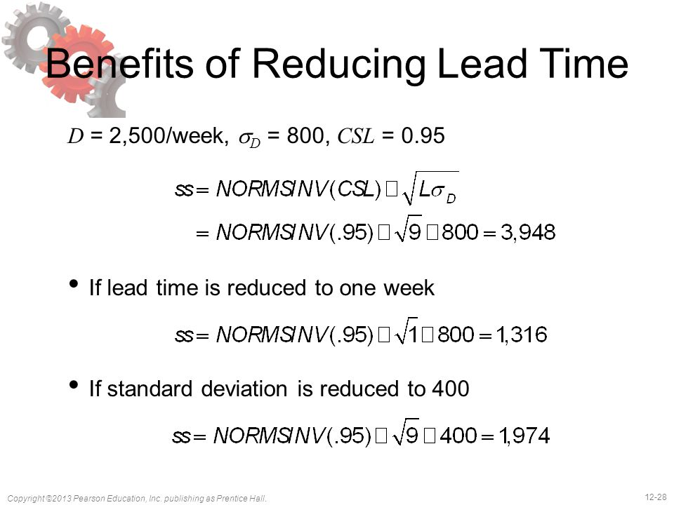 12-28 Copyright ©2013 Pearson Education, Inc. publishing as Prentice Hall. Benefits of Reducing Lead Time D = 2,500/week,  D = 800, CSL = 0.95 If lea