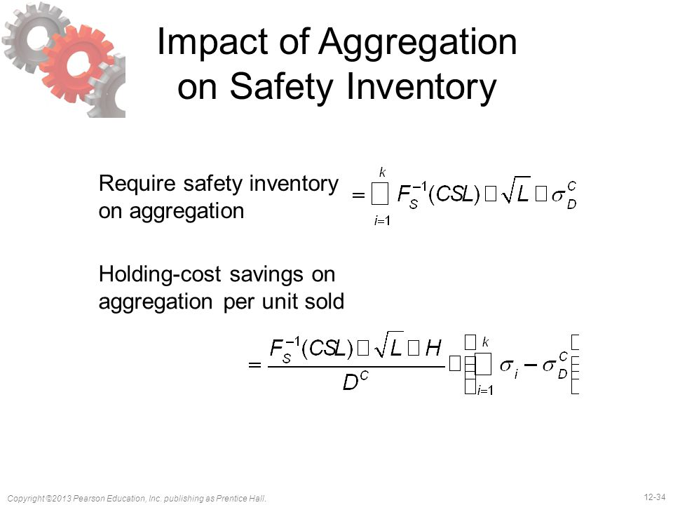 12-34 Copyright ©2013 Pearson Education, Inc. publishing as Prentice Hall. Impact of Aggregation on Safety Inventory Require safety inventory on aggre