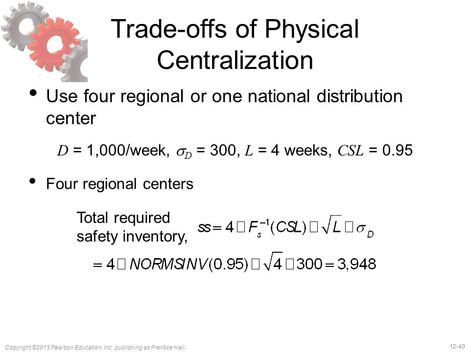 12-40 Copyright ©2013 Pearson Education, Inc. publishing as Prentice Hall. Trade-offs of Physical Centralization Use four regional or one national dis