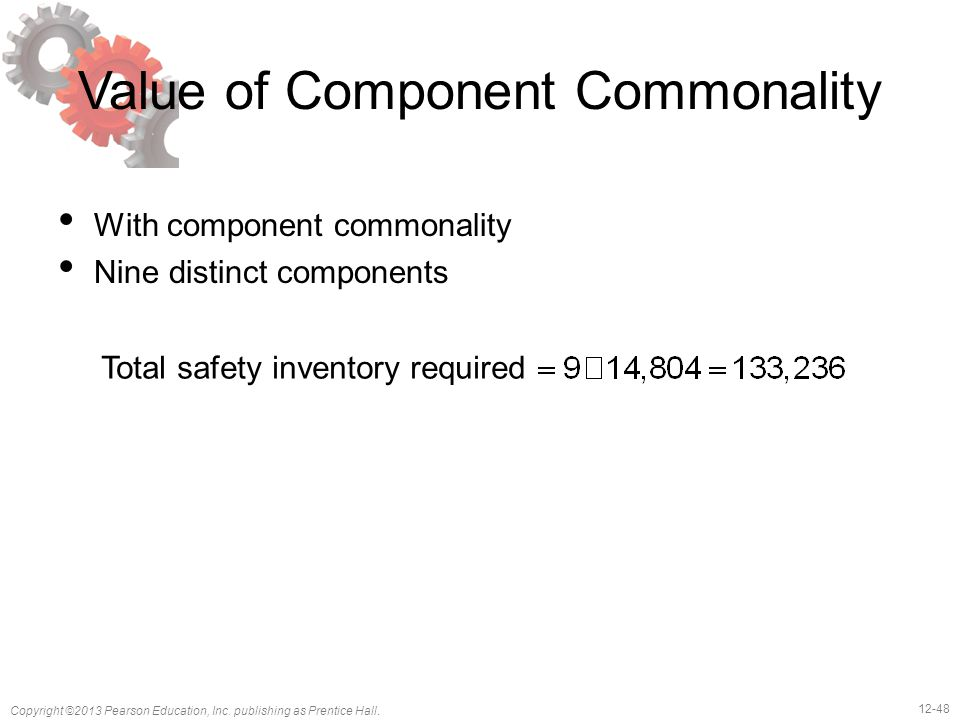 12-48 Copyright ©2013 Pearson Education, Inc. publishing as Prentice Hall. Value of Component Commonality With component commonality Nine distinct com