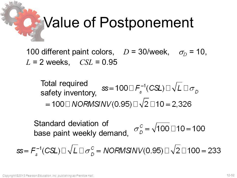 12-52 Copyright ©2013 Pearson Education, Inc. publishing as Prentice Hall. Value of Postponement 100 different paint colors, D = 30/week,  D = 10, L