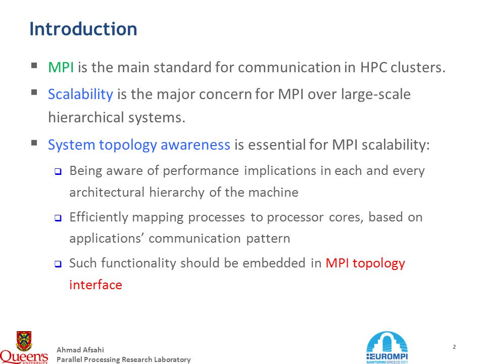 Ahmad Afsahi Parallel Processing Research Laboratory 2 Introduction  MPI is the main standard for communication in HPC clusters.