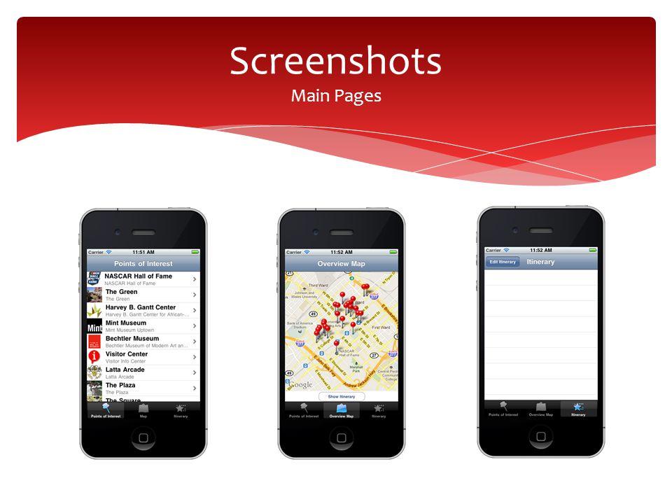 Screenshots Main Pages