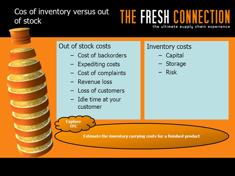 Cos of inventory versus out of stock Out of stock costs –Cost of backorders –Expediting costs –Cost of complaints –Revenue loss –Loss of customers –Id