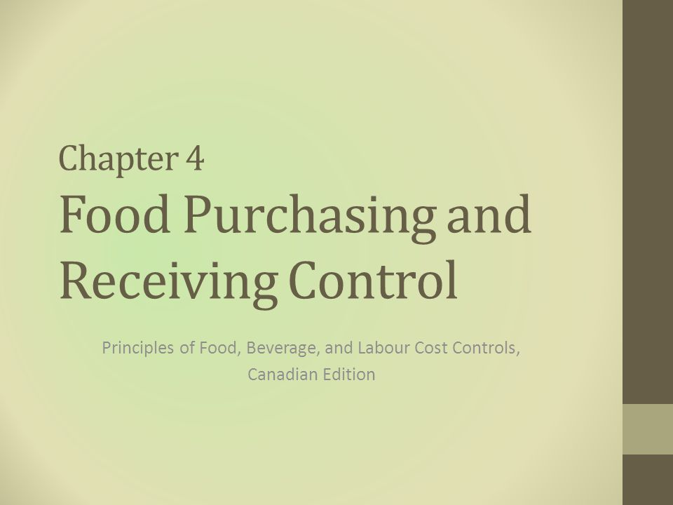 Receiving Standards 1.The quantity delivered same as the quantity on the Market Quotation List and invoice 2.The quality delivered meets establishment's standard specifications 3.The prices on the invoice match the Market Quotation List 4.The goods are received at the time specified Principles of Food, Beverage, and Labour Cost Controls, Second Canadian Edition 22