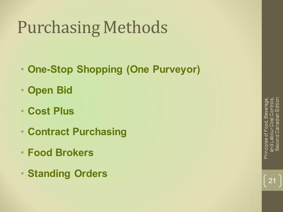 Purchasing Methods One-Stop Shopping (One Purveyor) Open Bid Cost Plus Contract Purchasing Food Brokers Standing Orders Principles of Food, Beverage,