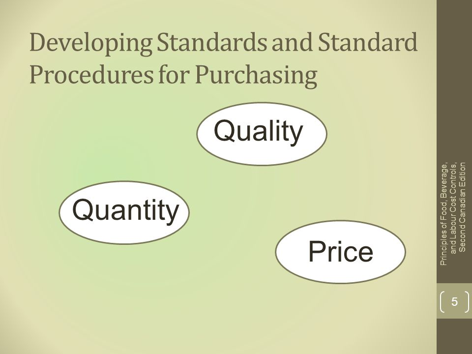 Developing Standards and Standard Procedures for Purchasing Quality Quantity Price Principles of Food, Beverage, and Labour Cost Controls, Second Cana
