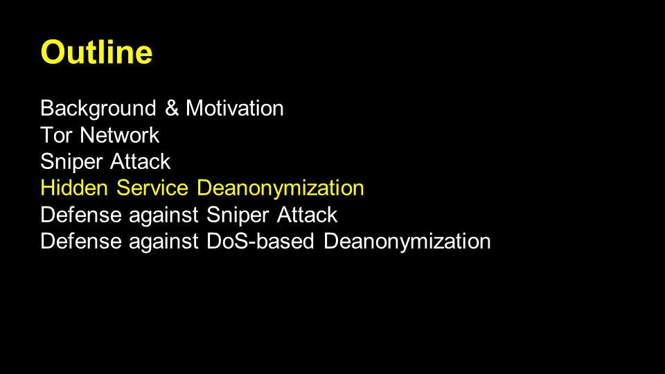 Outline Background & Motivation Tor Network Sniper Attack Hidden Service Deanonymization Defense against Sniper Attack Defense against DoS-based Deanonymization