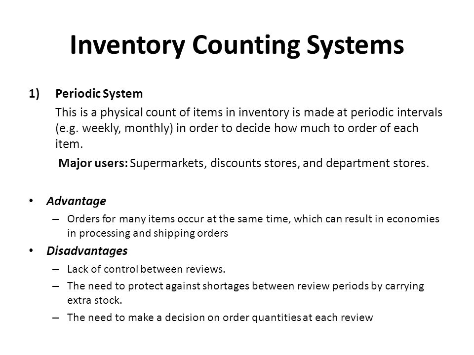 Inventory Counting Systems 2) Perpetual Inventory System (also known as a continual system) This keeps track of removals from inventory on a continuous basis, so the system can provide information on the current level of inventory for each item.