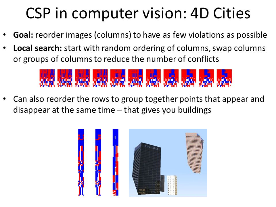 CSP in computer vision: 4D Cities Goal: reorder images (columns) to have as few violations as possible Local search: start with random ordering of columns, swap columns or groups of columns to reduce the number of conflicts Can also reorder the rows to group together points that appear and disappear at the same time – that gives you buildings