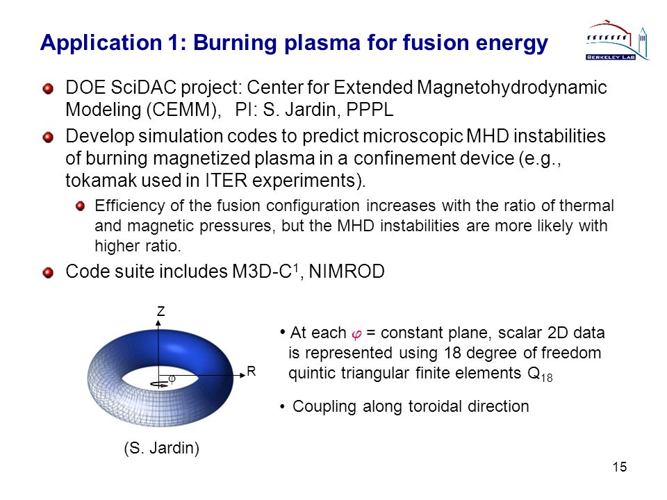 Application 1: Burning plasma for fusion energy DOE SciDAC project: Center for Extended Magnetohydrodynamic Modeling (CEMM), PI: S. Jardin, PPPL Devel