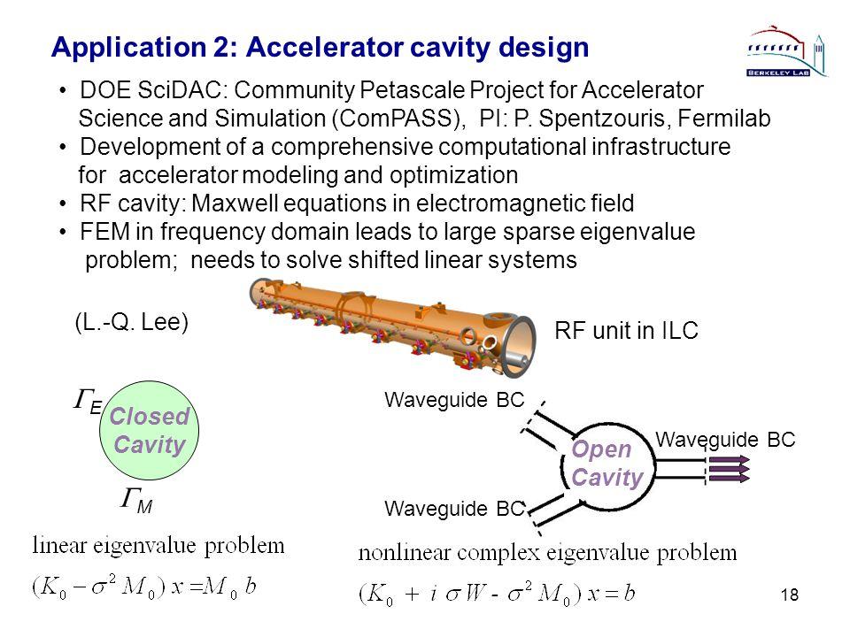 Application 2: Accelerator cavity design 18 DOE SciDAC: Community Petascale Project for Accelerator Science and Simulation (ComPASS), PI: P. Spentzour